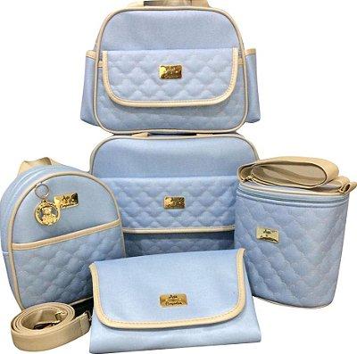 Bolsa Maternidade Azul Bebe nuvem 5 peças Super luxo