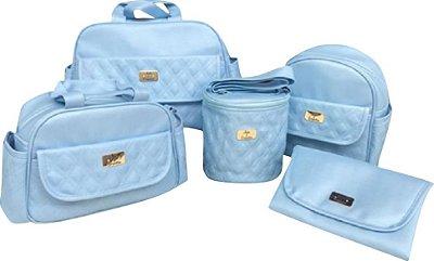 Kit Bolsa Azul Bebe Linho