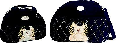 Bolsa Maternidade Azul Marinho Bordado 2 peças