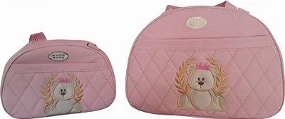 Bolsa Maternidade Rosa Bebe Bordado 2 peças