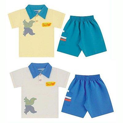 Conjunto Bebê Camiseta Pólo + Shorts