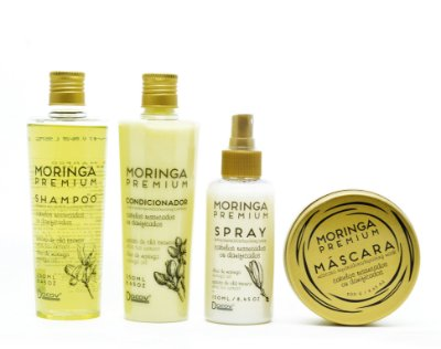 Kit Moringa Premium Shampoo 250 mL + Condicionador 250 mL + Mascara 200g + Spray 150 ml Hidratação Profunda