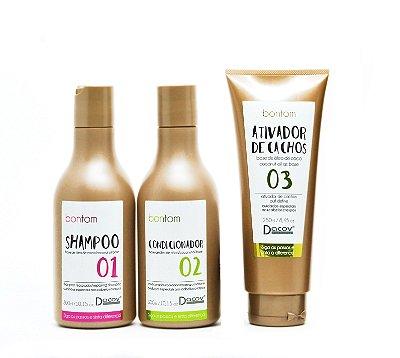 Kit Bontom Shampoo 300 ml + Condicionador 300 ml + Ativador de Cachos 250 ml Óleo de Coco Cabelos Crespos Cacheados