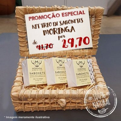 Kit 3 Sabonetes Veganos Moringa Premium
