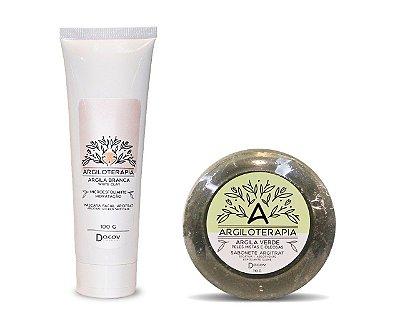 Kit Argiloterapia Máscara Facial Argila Branca 100g + Sabonete de Argila Verde 110g