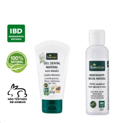 kit Gel Dental Natural Aloe Mamão 60g + Higienizante Enxaguante Bucal Natural 60ml – Livealoe