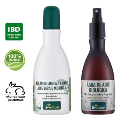 kit Loção de Limpeza Facial Natural Aloe Vera e Moringa 210ml + Água Biológica Natural Aloe Vera 210ml – Livealoe