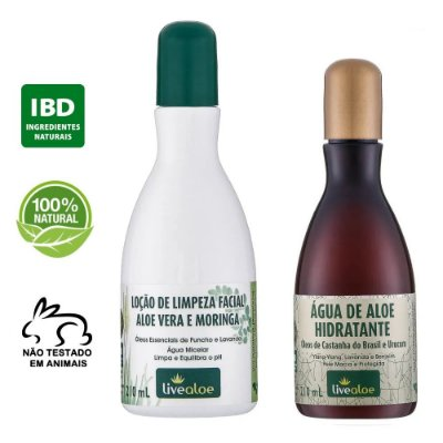 kit Loção de Limpeza Facial Natural Aloe Vera e Moringa 210ml + Água de Aloe Hidratante Natural 210ml – Livealoe
