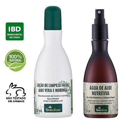 kit Loção de Limpeza Facial Natural 210ml + Água de Aloe Nutritiva Natural com Ácido Hialurônico 120ml - Livealoe