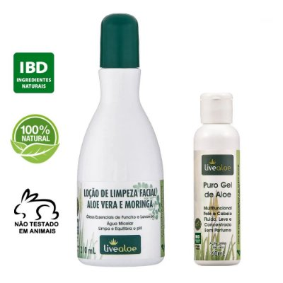 kit Loção de Limpeza Facial Natural Aloe Vera e Moringa 210ml + Puro Gel Multifuncional Natural de Aloe 60ml – Livealoe