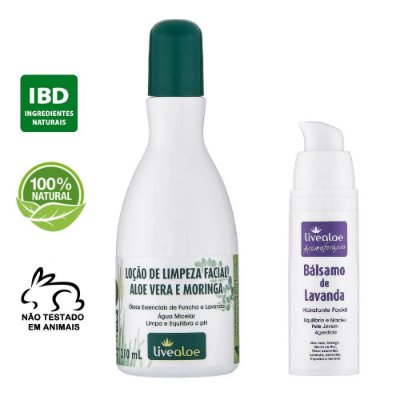kit Loção de Limpeza Facial Natural Aloe Vera e Moringa 210ml + Bálsamo Facial Natural de Lavanda 30ml – Livealoe