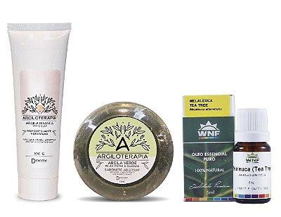 Kit Tratamento Pele Acneica com Máscara facial de Argila Branca + Sabonete Argila Verde + Óleo Essencial de Melaleuca