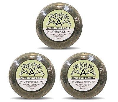 Kit 3 Sabonetes De Argila Verde Peles Mistas E Oleosas 110g Previne Acne