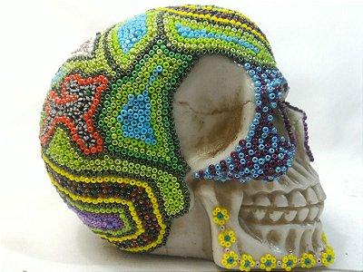 Caveira Cranio Mexicana Arte Missangas Resina