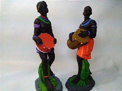 Par Ogã/ogan Resina 18cm Imagem Umbanda Orixá Africana