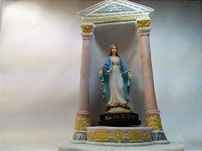 Nossa Senhora Das Graças 15 Cm Com Pedestal Mesa Resina