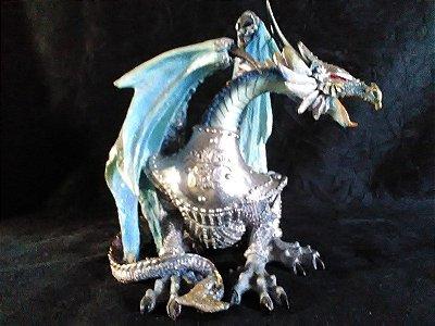 Dragão Blue 20 Cm Mística Imagem Resina Esotérica Decoração