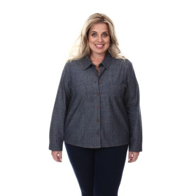 Camisa Plus Size jeans Juliana | Loulic