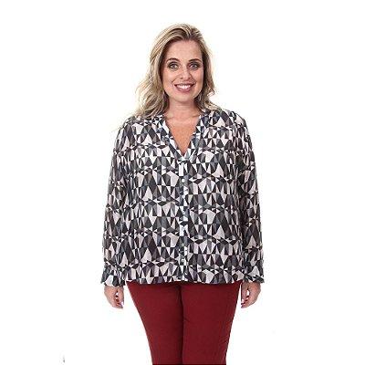 Camisa Plus Size Alice - Estampa Geométrica | Loulic