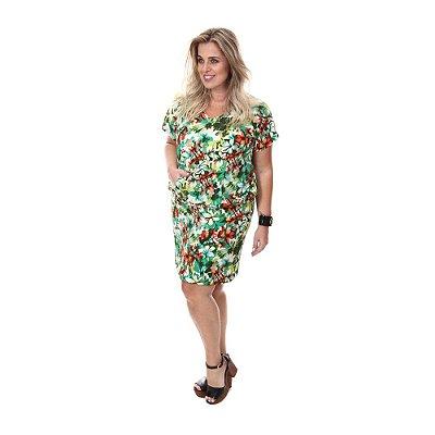 Vestido Plus Size Paola - Floral Verde | Loulic