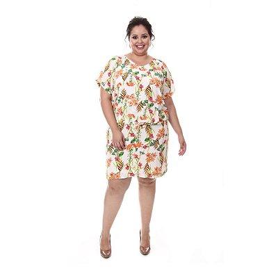 Vestido estampado Plus Size Paola - Floral Branco | Loulic