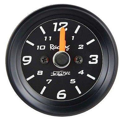 Relógio de Horas ø52mm Fundo Preto/Aro Preto | Willtec