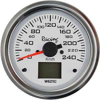 Velocímetro Eletrônico 240kM/H ø85mm - Fundo Branco Aro Inox |WILLTEC|