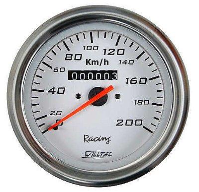 Velocímetro 200Km/h C/ Led Branco - ø85mm (Ford/GM/Willys - W=0.625) - Fundo Branco Aro Inox