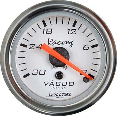 Vacuômetro C/ Led Branco ø52mm - Fundo Branco Aro Inox