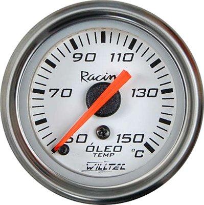 Termômetro Óleo MECÂNICO 50-150ºC - C/ Led Branco ø52mm - Fundo Branco Aro Inox