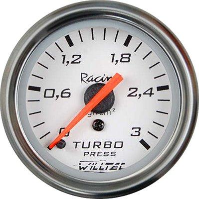 Pressão Turbo 3Kg - C/ Led Branco ø52mm - Fundo Branco Aro Inox