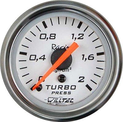 Pressão Turbo 2Kg - C/ Led  Branco ø52mm - Fundo Branco Aro Inox