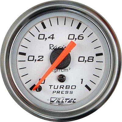 Pressão Turbo 1Kg C/ Led Branco ø52mm - Fundo Branco Aro Inox