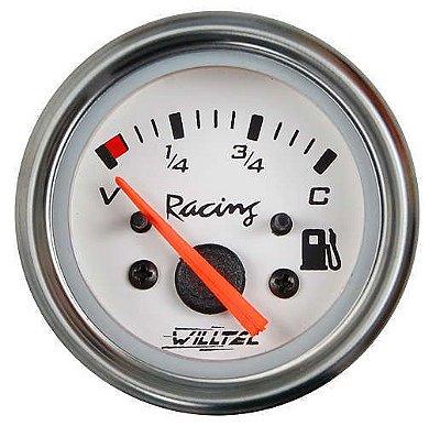 Indicador de Nível Combustível C/ Led Branco ø52mm 12V (V=3 / C=33) - Fundo Branco Aro Inox