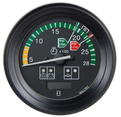 Tacômetro 2800RPM Bivolt 100mm c/ Ajuste/Horímetro Digital/Sinaleira 3 Funções | MASSEY FERGUSON|