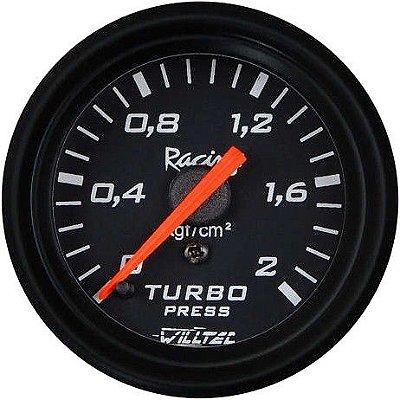 Pressão Turbo 2Kg - C/ Led  Branco ø60mm - Fundo Preto Aro Preto |WILLTEC|