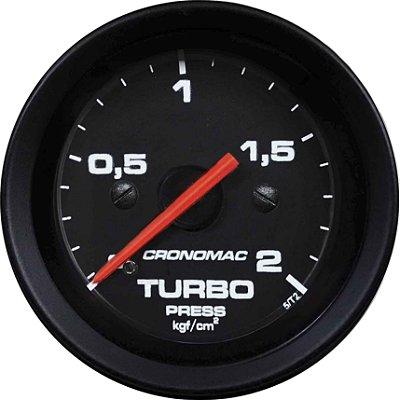 Pressão Turbo 2Kg - C/ Led  Branco ø60mm - Fundo Preto Aro Preto |CRONOMAC|