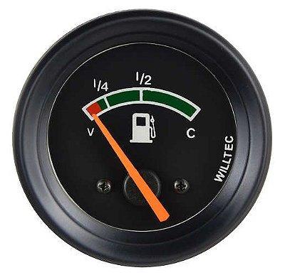 Indicador de Nível Combustível C/ Led Branco ø52mm 12V (V=69 / C=7) - Toyota Bandeirante - Fundo Preto Aro Preto |WILLTEC|
