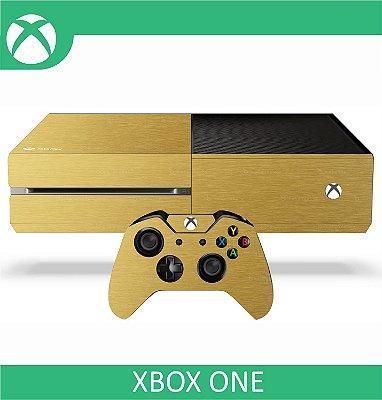 Capa skin xbox one - aço escovado dourado