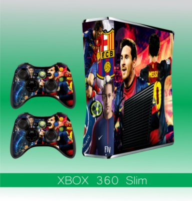 Capa skin xbox 360 slim- Messi&Neymar