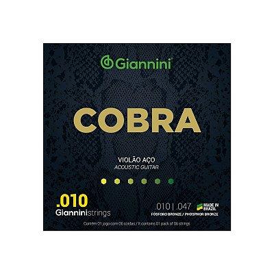 Encordoamento Violão Aço 6 cordas Giannini Cobra Fósforo Bronze 010 - 047