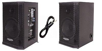 """Kit Caixa Ativa + Passiva 8"""" 150W SAGA USB BT CABO"""