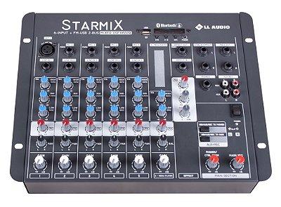 Mesa de Som LL Starmix USFX602R BT 6 Canais USB e Efeito