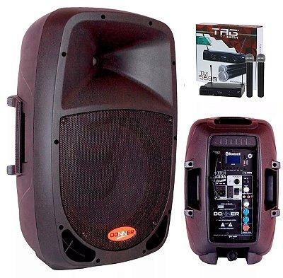 Kit Caixas de Som Ativa + Passiva DONNER DR1010 + Cabo 5 metros + Microfone sem Fio