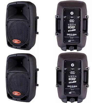 Kit Com 4 Caixa Som Passiva Dr808 Donner 80 Watts Rms