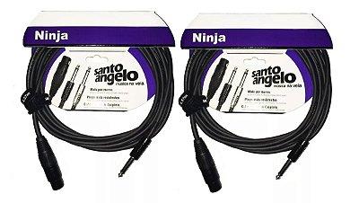Kit 2 Cabos Microfone Santo Angelo Ninja 4,57m Xlr/p10