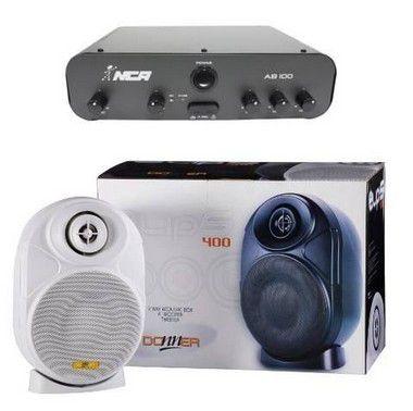 Kit Caixas Acústicas ELIPS400 + Amplificador Ab100 Branca