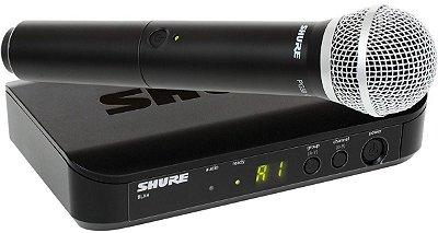 Microfone Shure Sem fio BLX24BR/PG58-J10 Para Shows Ao Vivo, Academias, Karaoke