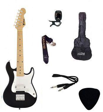 Kit Guitarra Infantil PHX Strato Juvenil IST1 Preta Capa/ Afinador/ Cabo/ Correia/ Palheta