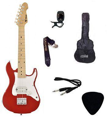 Kit Guitarra Infantil PHX Strato Juvenil IST1 Vermelha Capa/ Afinador/ Cabo/ Correia/ Palheta